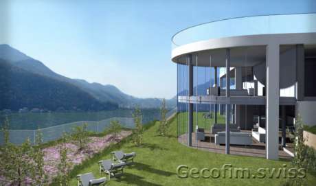 Villa on the lake in Melide 1159 square meters of land